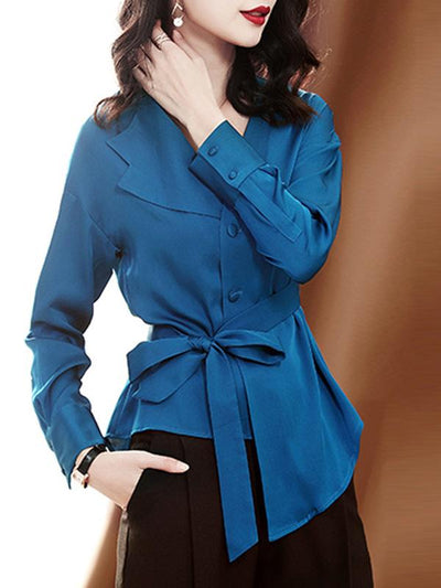 Asymmetric Bowknot Single Breasted Fashion Blouses