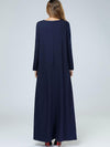 Embroidery Loose Big Hem Long Sleeve Brief Maxi Dress