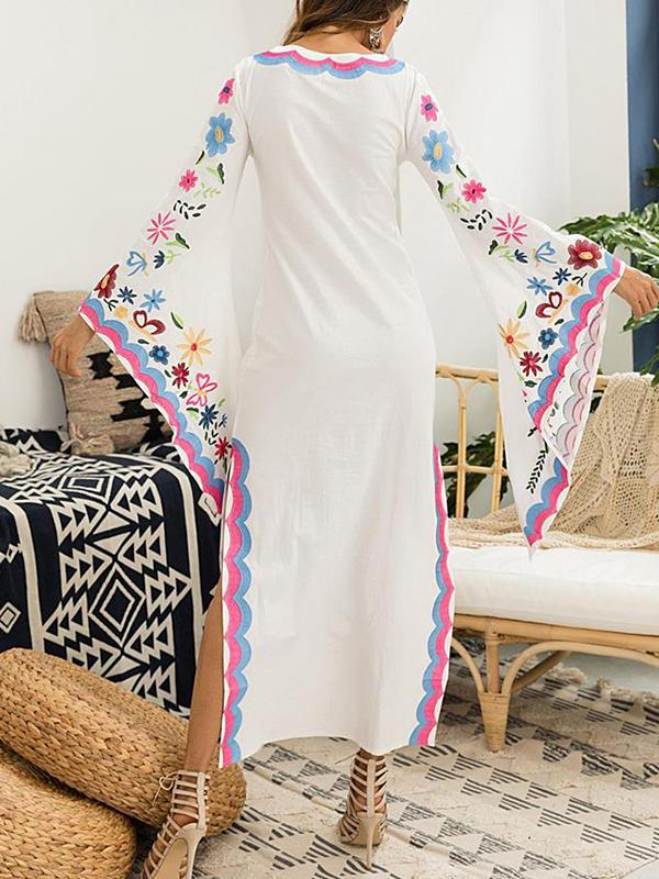 Multicolor Print Batwing Sleeve Bohemian Big Hem Dress