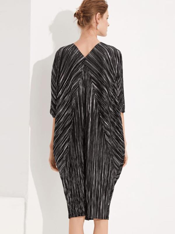 Folk Batwing Sleeve Stripe V-Neck Ruffled Shift Dress