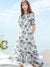 Flare Sleeve Lovely Gathered Waist Print A-Line Dress