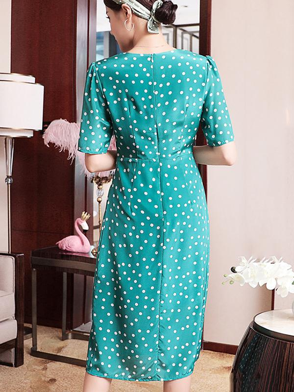 Blue Polka Dot Ruffled Elegant Slit Slim Button Skater Dress