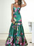 Braces High Waist Deep V-Neck Print Party Maxi Dress