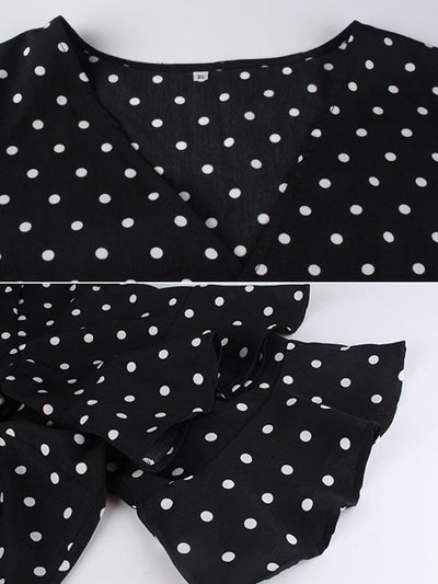 Oversize Polka Dots Lotus Sleeves Mini Skater Dress