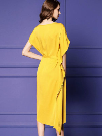 Yellow Falbala Lacing Slit Asymmetric Simple Dress