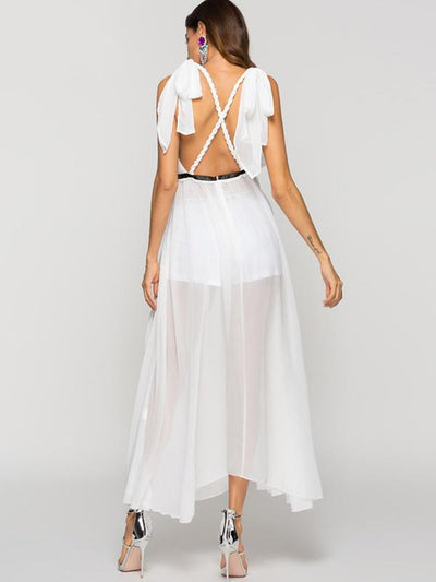 Sexy White Perspective Chiffon Asymmetric Skater Dress