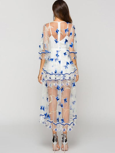 Fairy Lace Perspective Flare Sleeve Embroidery Mesh Dress