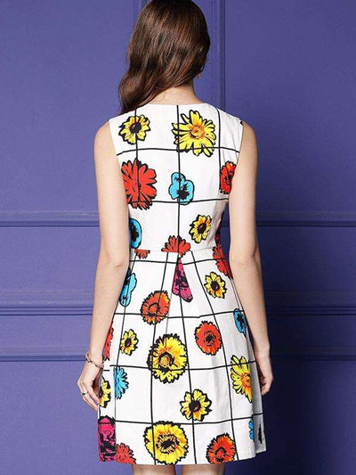 Sweet V-Neck High Waist Multicolor Cotton Skater Casual Dresses