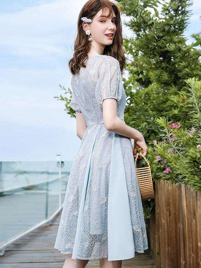 Sweet Embroidery Puff Sleeve Lace Skater Casual Dresses
