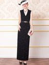 Knitting Jacquard V-Neck Slim Sleeveless Maxi Casual Dresses(Without Belt)