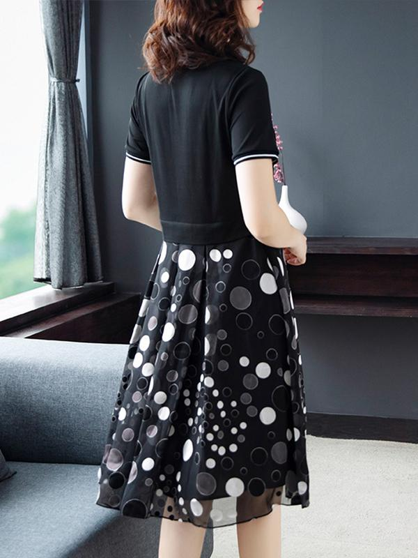 Black Polka Dot Print Stitching Casual A-Line Dress