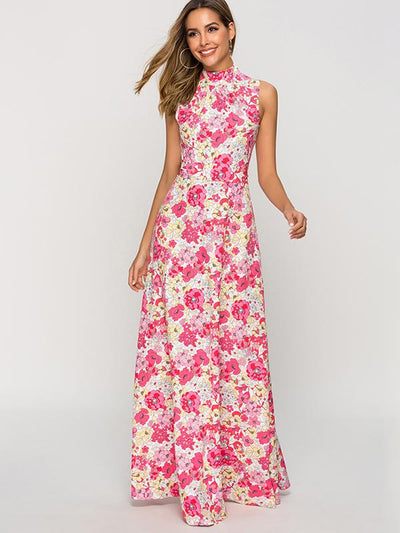Bohemian Slim Big Hem Print Sleeveless Ruffled Maxi Dress