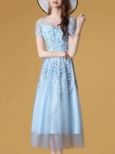 Embroidery Elegant Stitching Perspective Skater Party Dresses