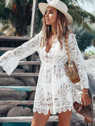 Holiday Lace Perspective Puff Sleeve Deep V-Neck Mini Casual Dresses