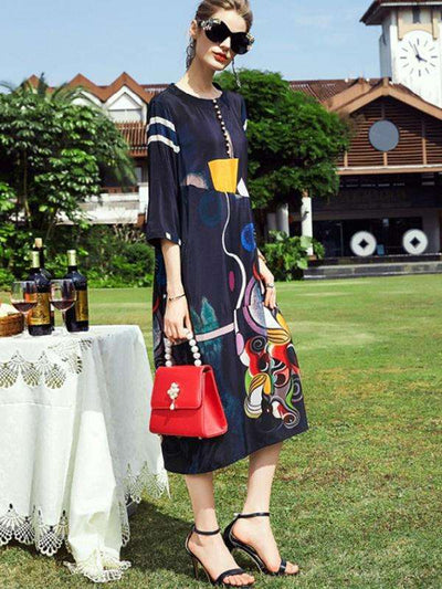 Silk Loose Button Geometric Print 3/4 Sleeve Casual Dresses