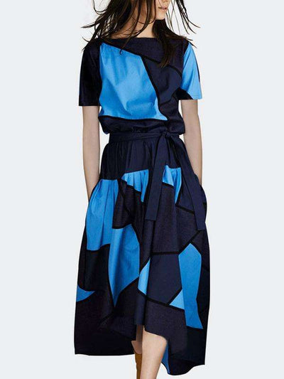 Patchwork Hit-Color Asymmetric Lacing Stylish Skater Casual Dresses