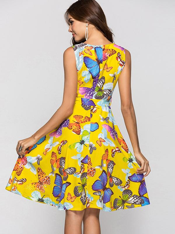 Butterfly Print Sleeveless Big Hem Zipper Sparky Skater Dress