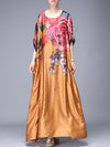 Large Size Asymmetric Silk Print Ethnic Maxi Dress