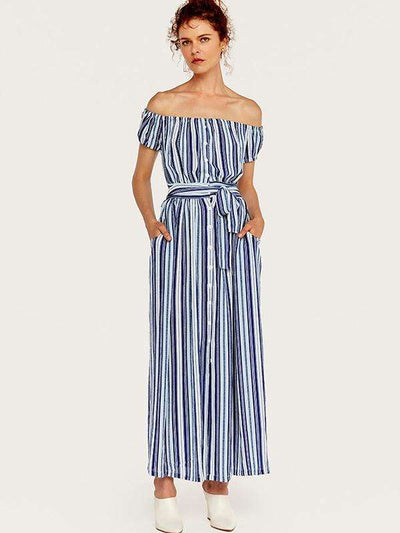 Stripe Lacing Single Breasted Off-The-Shoulder Street Casual Dresses