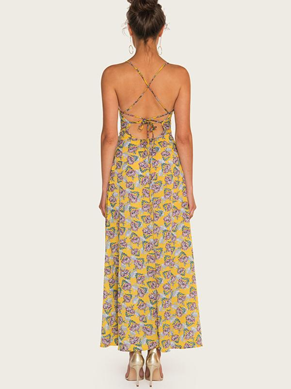 Backless Print Gathered Waist Slit Beach Skater Dress