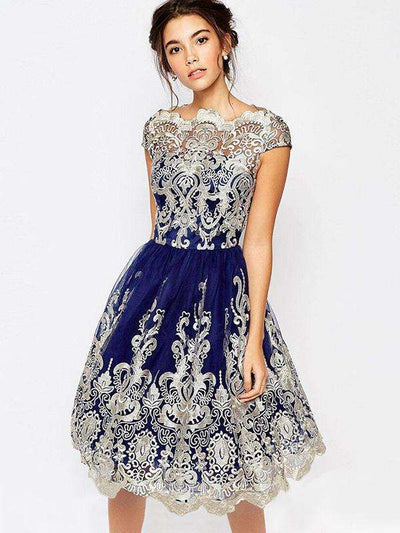 Mesh Lace Embroidery Asymmetric Party Dresses