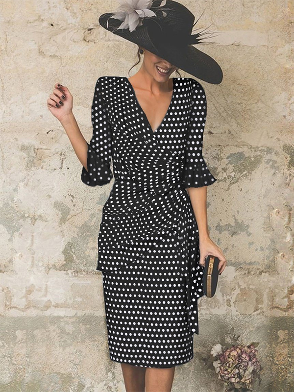 Sexy Polka Dot Ruffled High Waist Slim V-Neck Bodycon Dress