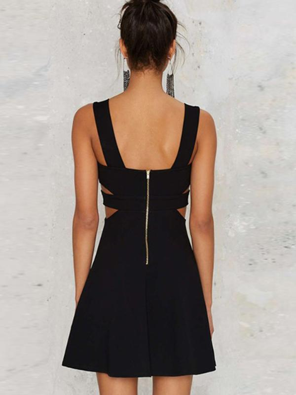 Black Deep V-Neck Sexy Slim Backless Hollow Out Skater Dress
