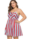 Oversize Stripe Braces Skater Slip Dress