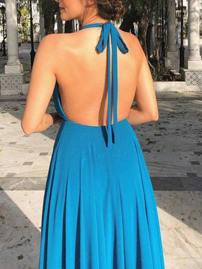 Backless Slit Ruffled Blue Sexy Halter Maxi Dress
