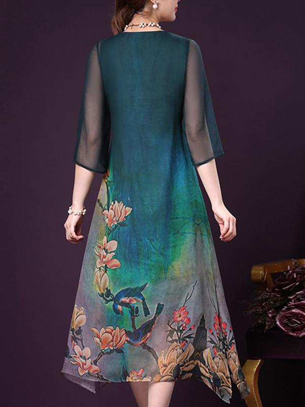Large Size Slit Silk Button Loose Vintage Shift Dress