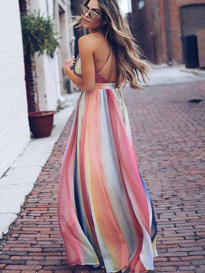 Hit-Color High Waist Backless Bohemian Slip Casual Dresses