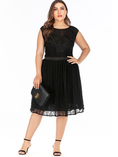 Oversize Black Simple Lace O-Neck Perspective Skater Dress