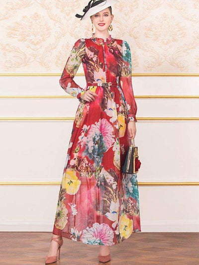 Chinoiserie Print Button Stand Collar Maxi Dress(Without Belt)