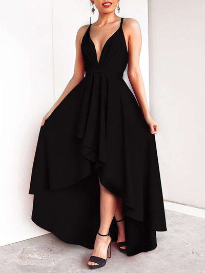 Sexy Big Hem Ruffled Asymmetric Backless Party Dresses