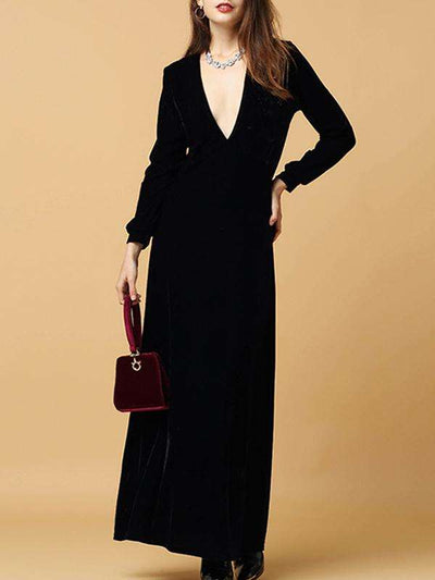 Black Velvet Deep V-Neck Long Sleeve Big Hem Party Dresses