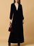Black Velvet  Deep V-Neck Long Sleeve Big Hem Party Dress
