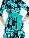 Bowknot Lacing 3/4 Sleeve Ruffled Gathered Waist Dress