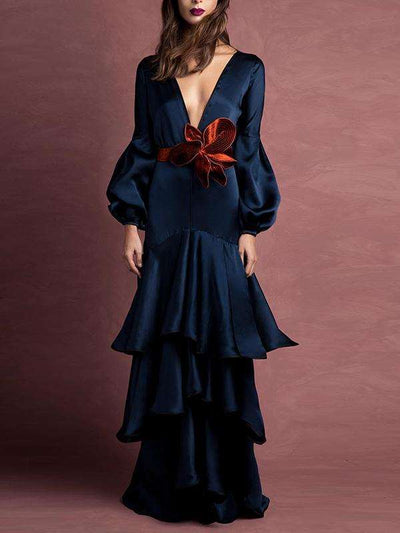 Stylish Deep V-Neck Ruffled Falbala Puff Sleeve Party Dress