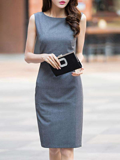 Simple Grey Sleeveless O-Neck Bodycon Casual Dresses