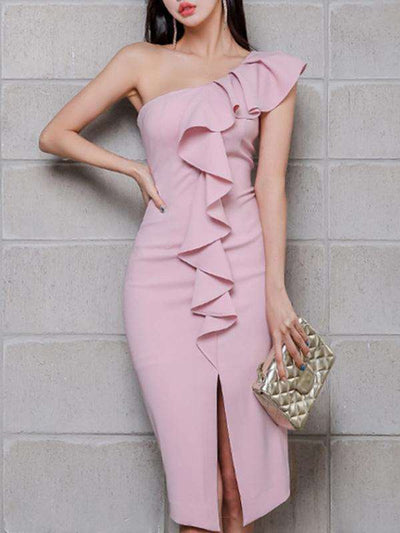 Slit Pink Stitching One Shoulder High Waist Sheath Casual Dresses