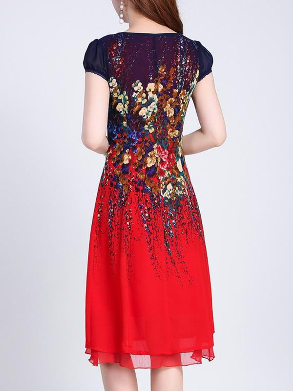 Chinoiserie High Waist Paillette Slim A-Line Dress