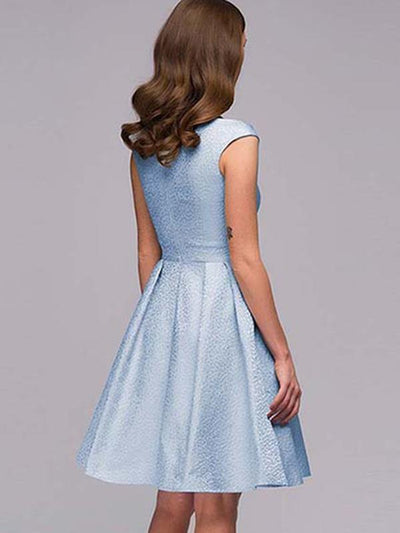 Delicate Light Blue V-Neck Sleeveless Skater Dress
