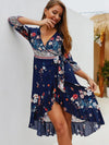 Asymmetric Print 3/4 Sleeve Ruffled Lacing Beach Dress