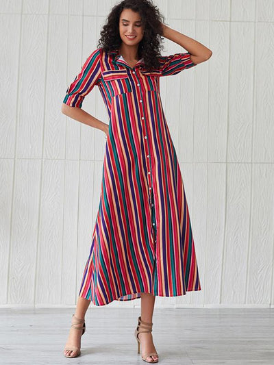 Casual Shirt Sleeves Pocket Stripe Single Breasted Shift Dress