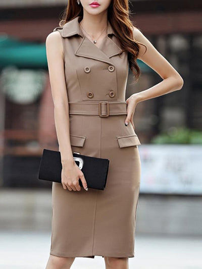 Bodycon Belted Apricot Turn-Down Collar Sheath Dress