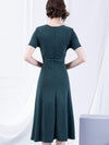 Elastic Lacing Slim Solid V-Neck Simple Skater Dress