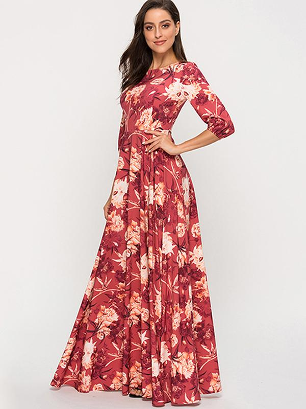 Big Hem Party Print 3/4 Sleeve Gathered Waist Dress