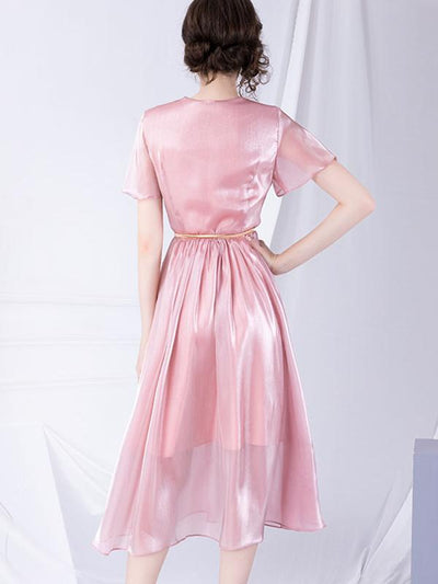 Fairy Sashes V-Neck Gathered Waist Solid A-Line Dress
