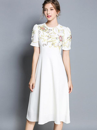 Ethnic Gathered Waist Embroidery White Chiffon Skater Dress