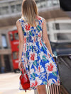 Street Turn-Down Collar Button Gathered Waist Print Casual Dresses